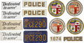 Movie/TV Memorabilia:Props, The Terminator Prop Police Car Decals and License Plates....(Total: 14 Items)
