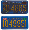 Movie/TV Memorabilia:Props, The Terminator Prop Gasoline Tanker License Plates....(Total: 2 Items)