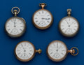 Timepieces:Pocket (post 1900), Five American, 18 Size Pocket Watches. ... (Total: 5 Items)