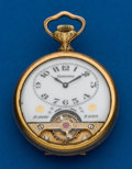 "Timepieces:Pocket (post 1900), Hebdomas, Exposed Balance Pocket Watch, Raised Relief ""Scientia""Portrait Case. ..."