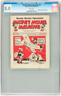 Mickey Mouse Magazine Dairy Giveaway V1#8 (Walt Disney Productions, 1934) CGC VF 8.0 White pages