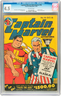 Captain Marvel Adventures #16 (Fawcett, 1942) CGC VG+ 4.5 Off-white pages