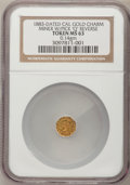 "California Gold Charms, 1883-Dated California Gold Charm. Miner with Pick ""Q"" Reverse MS63 NGC. ..."