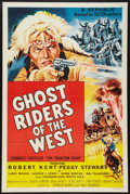 "Movie Posters:Serial, Ghost Riders of the West (Republic, R-1954). Three Sheet (41"" X 81""). Serial. Formely entitled The Phantom Rider.. ..."