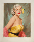 Pin-up and Glamour Art, AMERICAN ARTIST (20th Century). Glamour Blonde with YellowFlower. Oil on canvas. 28 x 22 in.. Not signed. ...