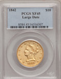 Liberty Eagles: , 1842 $10 Large Date XF45 PCGS. PCGS Population (19/41). NGC Census:(26/31). Mintage: 81,507. Numismedia Wsl. Price for pro...