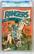 Golden Age (1938-1955):War, Rangers Comics #8 (Fiction House, 1942) CGC FN+ 6.5 Off-white towhite pages....