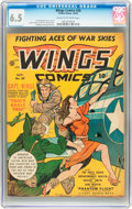 Golden Age (1938-1955):War, Wings Comics #26 (Fiction House, 1942) CGC FN+ 6.5 Cream tooff-white pages....