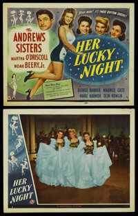 """Her Lucky Night (Universal, 1945). Title Lobby Card and Lobby Card (11"""" X 14""""). Comedy. Starring The Andrews S..."""