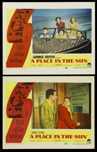 """A Place In The Sun (Paramount, 1951). Lobby Cards (2) (11"""" X 14""""). Film Noir. ... (Total: 2 Items)"""