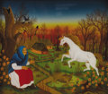 Fine Art - Painting, European:Contemporary   (1950 to present)  , Josip-Joska Horvat (Yugoslavian, born 1939). . White Horse .Late 20th century. Reverse oil painting on glass. Signe...
