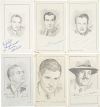 Edward R. Murrow, Walter Cronkite, and Other Signed Sketches of Noted Newscasters