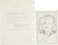 Movie/TV Memorabilia:Autographs and Signed Items, Carole Lombard Signed Sketch....