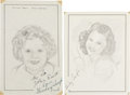 Movie/TV Memorabilia:Autographs and Signed Items, Shirley Temple Signed Sketch....