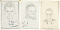 Cary Grant, James Cagney, and Fred Astaire Signed Sketches