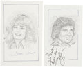 Movie/TV Memorabilia:Autographs and Signed Items, Farrah Fawcett and Michael Landon Signed Sketches.... (Total: 2Items)