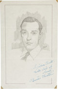 Movie/TV Memorabilia:Autographs and Signed Items, Buster Keaton Signed Sketch....