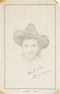 Movie/TV Memorabilia:Autographs and Signed Items, Tom Mix Signed Sketch....