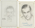 Movie/TV Memorabilia:Autographs and Signed Items, Boris Karloff and Warner Oland Signed Sketches.... (Total: 2 )