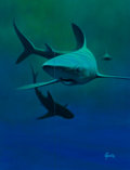 Mainstream Illustration, RUDY GARCIA (American, 20th Century). Shark. Acrylic onboard. 16.5 x 12.5 in.. Signed lower right. ...