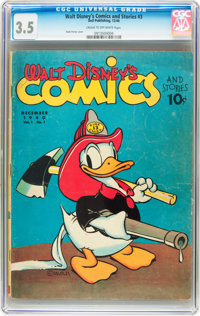 Walt Disney's Comics and Stories #3 (Dell, 1940) CGC VG- 3.5 Cream to off-white pages
