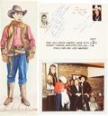 Movie/TV Memorabilia:Autographs and Signed Items, Autographed Picture of Sunset Carson, Iron Eyes Cody and JockMahoney, plus Watercolor of William S. Hart. ...