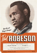 Movie/TV Memorabilia:Autographs and Signed Items, Paul Robeson Signed Flyer....