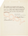 Movie/TV Memorabilia:Autographs and Signed Items, Clara Bow Signed Agreement....