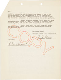 Clara Bow Signed Agreement