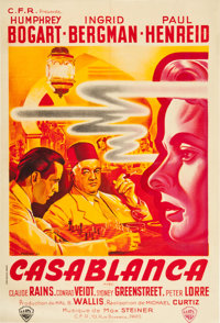 "Casablanca (Warner Brothers, 1940s). First Post-War French Affiche (31.5"" X 46.5"")"