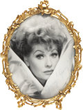 Movie/TV Memorabilia:Autographs and Signed Items, Oval Metal-Framed Signed Portrait of Lucille Ball to Husband GaryMorton.... (Total: 2 Items)