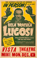 "Movie Posters:Horror, Bela Lugosi Stage Production of ""The Tell-Tale Heart"" (Late 1940s).Window Card (14"" X 22"").. ..."