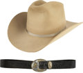 Movie/TV Memorabilia:Costumes, Glenn Ford's Cowboy Hat and Leather Belt.... (Total: 2 )