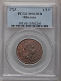 Colonials, 1723 1/2P Hibernia Halfpenny MS63 Red and Brown PCGS. Martin4.17-Gc.22, R.3....