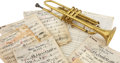 Musical Instruments:Horns & Wind Instruments, Gary Morton's Trumpet in Case with Sheet Music. ...