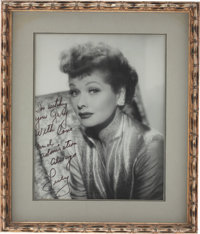 Lucille Ball Large Framed Black-and-White Photo Inscribed to Husband Gary Morton