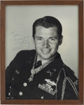 Movie/TV Memorabilia:Autographs and Signed Items, Audie Murphy Inscribed and Autographed Oversized Photo, Framed....
