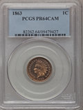 Proof Indian Cents, 1863 1C PR64 Cameo PCGS....