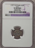 Early Half Dimes, 1797 H10C 16 Stars--Scratches--NGC Details. VF. V-3, LM-2, R.5....