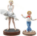Movie/TV Memorabilia:Memorabilia, Lucille Ball's Porcelain Figurines of Shirley Temple and MarilynMonroe.... (Total: 2 Items)