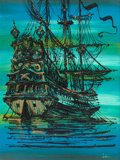 Mainstream Illustration, LEON (20th Century). Spanish Galleon. Acrylic on board. 40 x30 in.. Signed lower right. ...