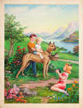 Mainstream Illustration, AMERICAN ARTIST (20th Century). Photo on the Donkey.Lithograph. 24 x 18 in.. Not signed. ...