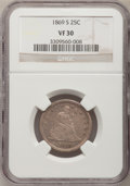 Seated Quarters, 1869-S 25C VF30 NGC....