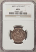 Seated Quarters, 1866-S 25C VF20 NGC....