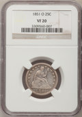 Seated Quarters, 1851-O 25C VF20 NGC....