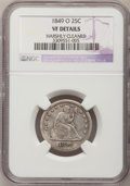 Seated Quarters, 1849-O 25C --Harshly Cleaned--NGC Details. VF....