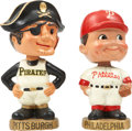 """Baseball Collectibles:Others, 1967-72 Pittsburgh Pirates and Philadelphia Phillies """"Gold Base""""Nodders Lot of 2. ..."""