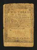 Colonial Notes:Continental Congress Issues, Continental Currency February 17, 1776 $2/3 Fine.. ...