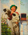 Mainstream Illustration, JOSEPH FRANCIS KERNAN (American, 1878-1958). Boy and Dog, ThisWeek cover, September 6, 1936. Oil on canvas. 30 x 24 in....