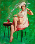 Pin-up and Glamour Art, PETER DARRO (American, b. 1917). PIn-Up with BBQ Grill. Oilon canvas. 30 x 24 in.. Signed lower right. ...